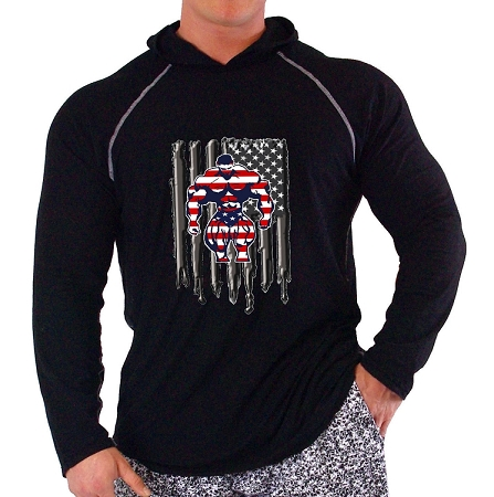 Black Long Sleeve T-Shirt Pacific Hoodie With America Muscle Flag BB