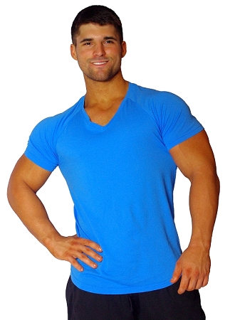 New Style 670V Aqua Blue, summer cool, light , Fitted V-Neck