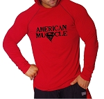 T-Shirt Pacific Fitted Hoodie  Red/ Black Stitching  For Men And Women With Black Super American Muscle