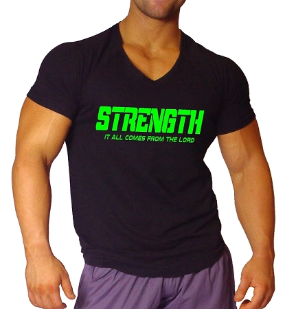 New Style 670V Black, summer cool, light weight,  Fitted V-Neck  With  Neon Green Strength Comes From The Lord