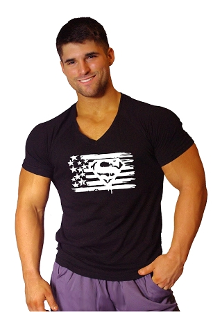 New Style 670V Black, summer cool, light weight,  Fitted V-Neck  With White Super Flag
