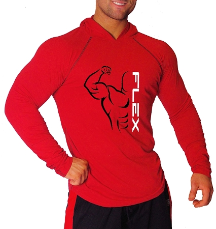 T-Shirt Pacific Fitted Hoodie  Red/ Black Stitching  For Men And Women With Flex Design