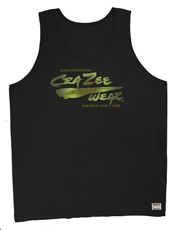 Style 350 New Solid Black CZW Venice Relaxed Fit Tank Top With Versa Army Green Logo