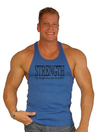 312R Blue Rib Stretch Fitted Tank Tops With My Strength Comes From The Lord