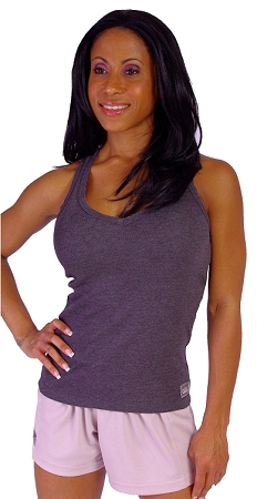 Style 340 Charcoal Stretch Rib Racerback Tank Top