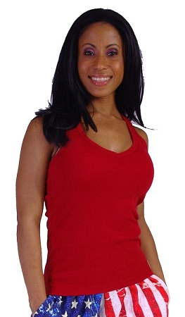 Style 340 Red Stretch Rib Racerback Tank Top