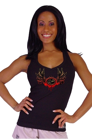 Style 340 Black Stretch Rib Racerback Tank Top With Versa Red Crazee Wing