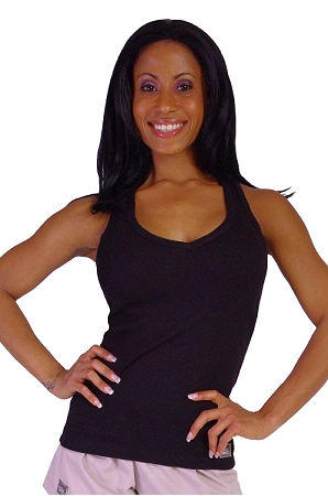 Style 340 Black Stretch Rib Racerback Tank Top With Purple Athena Clearance