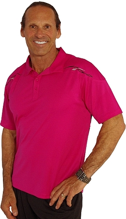 Polo Fusha Pink with arch in blk/silver in front and blk arch on back