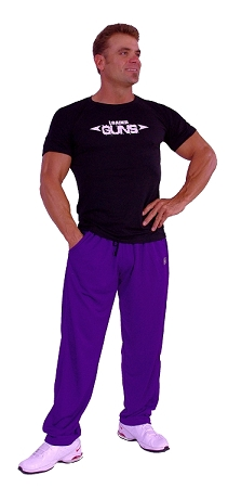 Style 500M Solid Purple Microfiber Relaxed Fit Baggy Pants