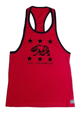 Crazee Wear 312RC Red Rib Stretch Fitted Tank Tops With Black Ribbing Los Angeles Bears