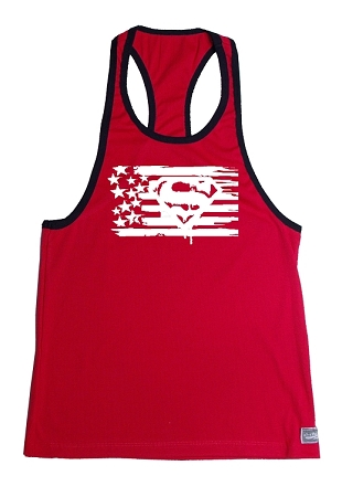 312RC Red Rib Stringer Stretch Fitted Tank Tops With Black Ribbing And White Super Flag Design