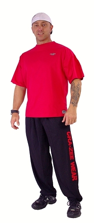 Style 500M  Black Microfiber Baggy Pants With Red Crazee Wear (IFBB Pro Roddy Gaubert)