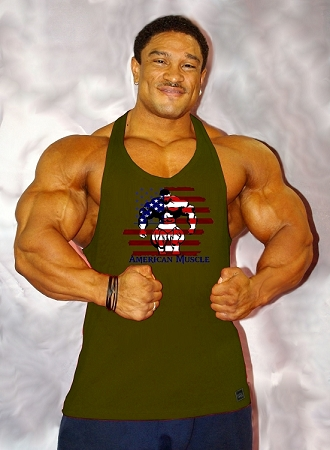 312R  Army Green TankTop with/Vector American Muscle Design