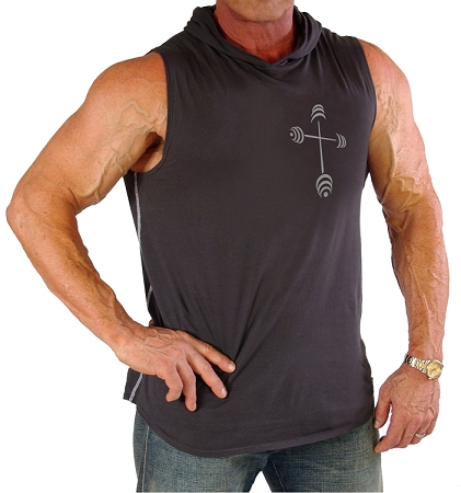 Pacific Sleeveless Hoodie 100% Cotton Fitted And Tapered To Waist In Charcoal Grey With Barbell Cross In Grey Design