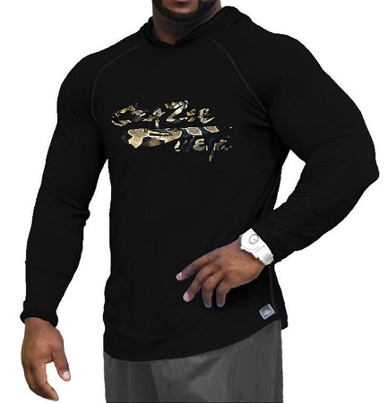 Long Sleeve T-Shirt  Fitted Pacific Hoodie In Black With Crazee Wear Snake Design
