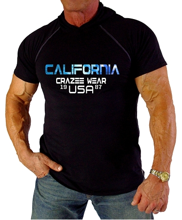Pacific Hoodie 100% Cotton Fitted Short Sleeve Black With Versa California CZW USA