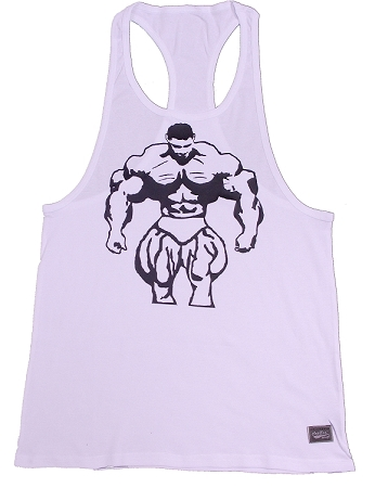 312R Rib white Tank Tops W/black huge Muscle Man
