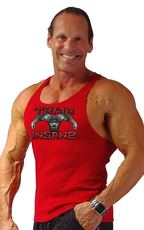 312R  Red TankTop with Versa Train Insane Design