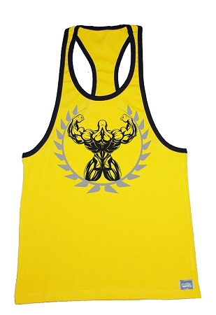 312R  Yellow With Black Trim Tank Top With Back Muscle Man Crest