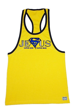 312R  Yellow With Black Trim Tank Top With Super Jesus (Super in Blue)