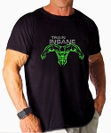 Custom Tee/Black Relaxed Fit Muscle Tee With Charcoal Train Insane/Neon Green Super Hero