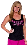 315 Blk Tank Top  with pink eagle
