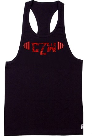 312R black Tank Tops With Versa Red Barbell Design