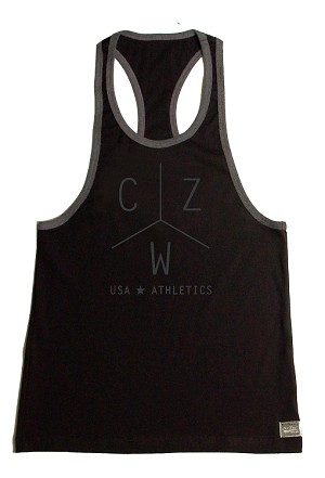 Crazee Wear 312RC Black Rib Stretch Fitted Tank Tops With Grey Ribbing With CZW Athletics In Grey