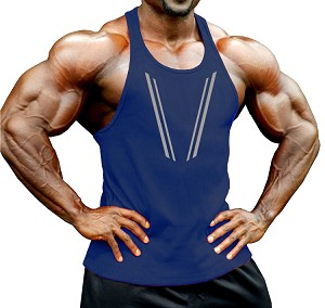 Crazee Wear 312R Navy Blue Stretch  Fitted Tank Tops With Grey Taper Design