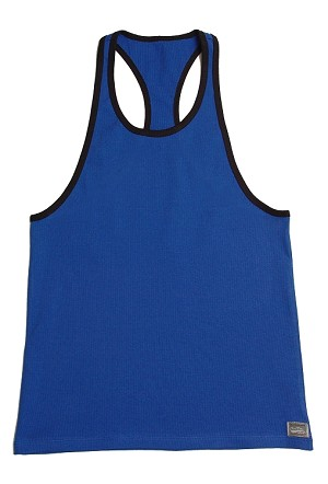 Crazee Wear 312RC Blue  Rib Stretch Fitted Tank Tops With Black Ribbing