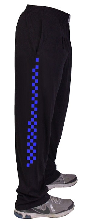 Style 500 Classic Black W/Speedway in Neon Blue Down Side Of Pants