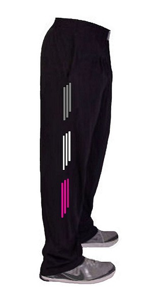 Style 500 Classic Relaxed Fit Solid Black Baggy Pants For Men And Women With White, Grey And Pink Stripes
