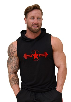 Pacific Sleeveless Hoodie 100% Cotton Fitted And Tapered To Waist In Black With CZW Athletics Design In Red