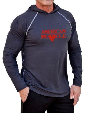 Long Sleeve T-Shirt  Fitted Pacific Hoodie In Charcoal With Red American Muscle Design
