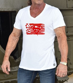 New Style 670V White, summer cool, light weight,  Fitted V-Neck Shirt With Red Super Flag design