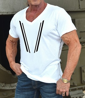 New Style 670V White, summer cool, light weight,  Fitted V-Neck Shirt With Black V-Taper Design