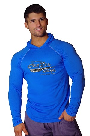 T-Shirt Pacific Fitted Hoodie  Blue/White Stitching  For Men And Women With Versa Liquid Silver Crazee Wear
