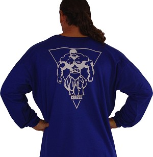Style 444FT Blue Sweat Shirt  Top W/Largel Muscle Man On Back