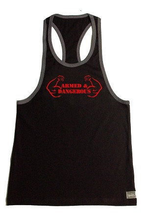 Crazee Wear 312RC Black Rib Stretch Fitted Tank Tops With Grey Ribbing With Red Armed And Dangerous Design