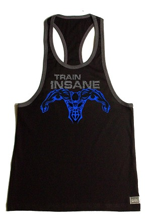 Crazee Wear 312RC Black Rib Stretch Fitted Tank Top With Grey Trim With Grey Train Insane/Neon Blue Super Hero