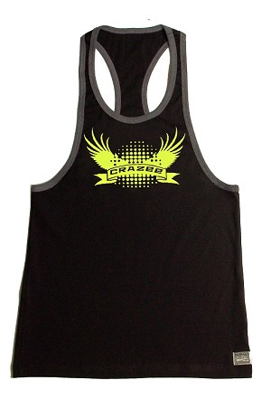 Crazee Wear 312RC Black With Grey Rib  Fitted Tank Top With Neon Yellow Crazee Wing