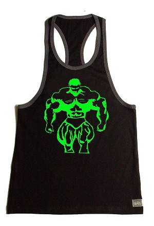 312R  Black/Charcoal Tank Top with huge muscle man In Neon Green