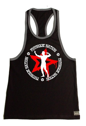 Crazee Wear 312RC Black Rib Stretch Fitted Tank Top With Grey Trim With Physique Nation Emblem Red Star