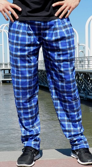 Style 500 Classic Blue Plaid Relaxed Fit Baggy Pants For Men And Women