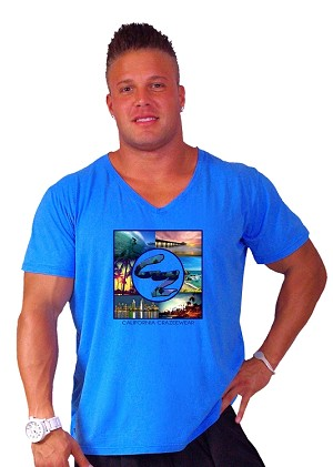 New Style 680V Aqua Blue, summer cool, light , Relaxed Fit  V-Neck With West Coast Design
