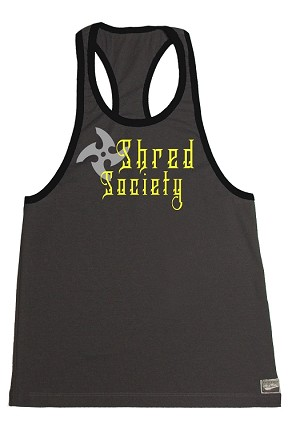 312RC Grey/Black Tank Tops With Yellow Shred Society Design