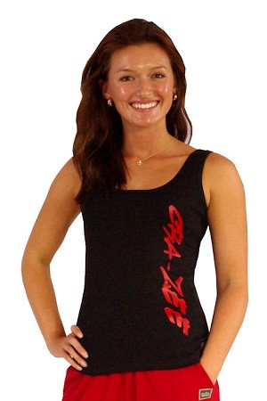 315 Blk Tank  Top with red Crazee