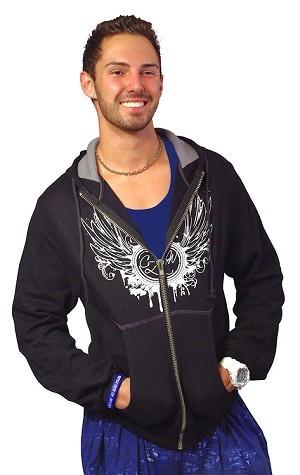 Mens Hoodie With With White CZW Wing