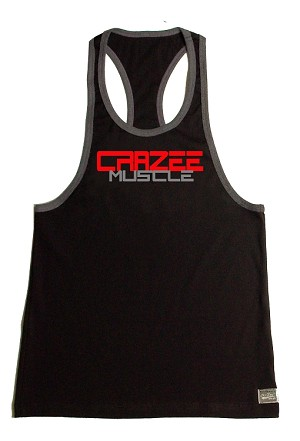 Crazee Wear 312RC Black Rib Stretch Fitted Tank Tops With Grey Ribbing With Red CRAZEE/ Charcoal Muscle
